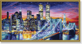 Simba Schipper Malen nach Zahlen - Manhattan bei Nacht 40 x 80 cm