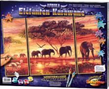 Schipper Malen nach Zahlen - Elefanten Karawane (Triptchon) 50 x 80 cm