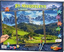 Simba Schipper Malen nach Zahlen - St. Magdalena in Südtirol Triptychon 50x80 cm