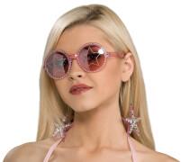 Stars are Blind Brille rosa mit Ohrringe, Karnevalskostüm Star Wars